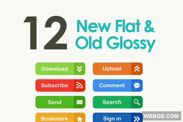 12 flat and 12 glossy vector web buttons free download