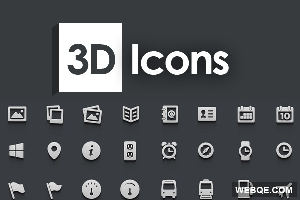 3D Icons - A flat and silver style 3D icon set (364 icons)