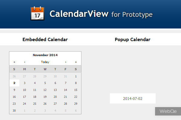 CalendarView - Simple JavaScript Calender Plugin with Prototype