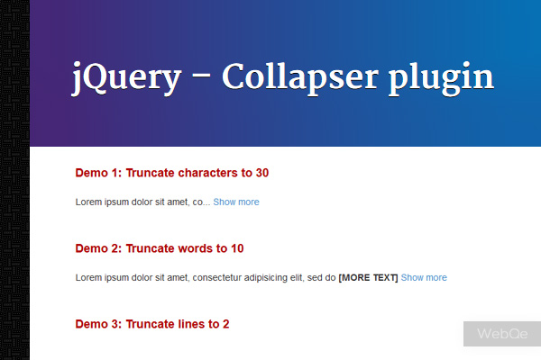 Collapser Jquery Collapse Text Plugin To Shorten Content
