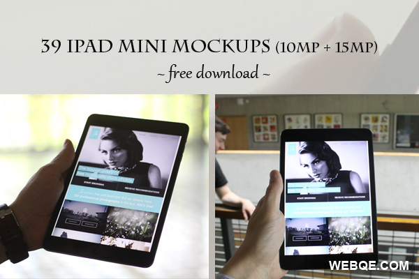 Free 10MP and 15MP high resolution iPad mini mockups in JPG