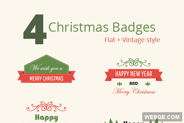 Free 4 vintage Christmas badges vector download in AI