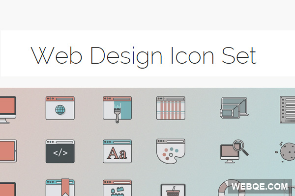 Free cute pale colors web design vector icon set (24 icons)