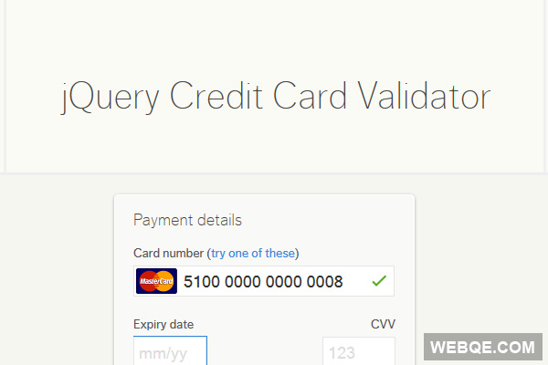 jQuery Credit Card Validator to check credit card input