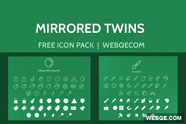 Mirrored Twins - iOS flat and line vector icon set (47 icons)