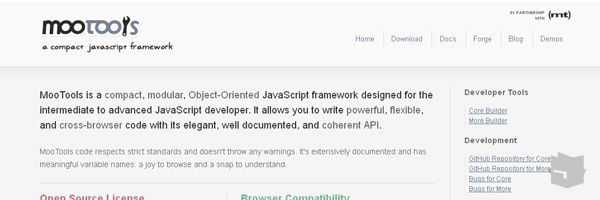 Mootools Best Javascript Frameworks Libraries Of 2013