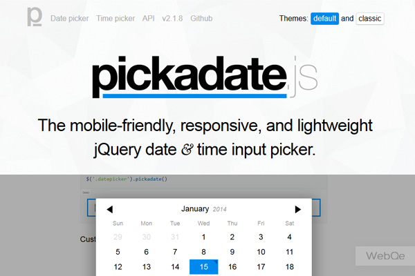 pickadate js – A Mobile Like DateTime Picker jQuery Plugin | WebQe