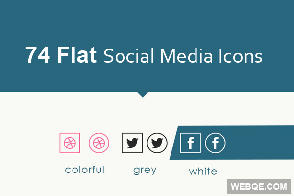 Round and rectangular flat social media icon set (74 icons)