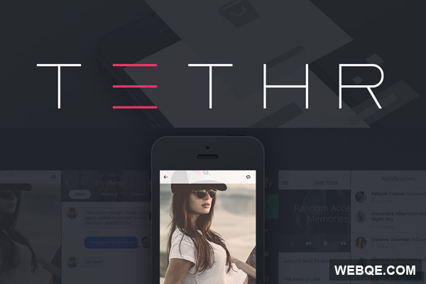 TETHR - A Beautiful iOS vector UI kit for mobile in PSD
