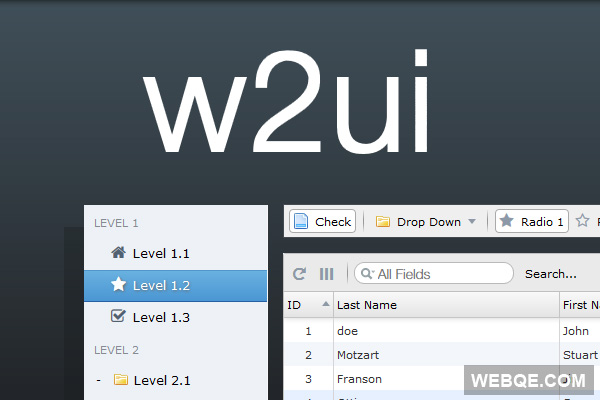 W2UI - A new and modern jQuery based JavaScript UI framework