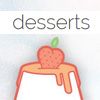 Cute and sweet dessert vector icon set in PNG, PSD & AI